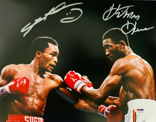 Tommy Hitman Hearns And Sugar Ray Leonard Signed 11 X 14 Photo - Psa Dna 4