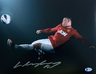 Manchester United Wayne Rooney Signed 11 X 14 Photo Kick Auto - Bas Beckett