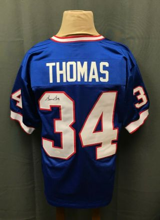 Thurman Thomas 34 Signed Bills Jersey Auto Sz Xl Jsa Witnessed Sticker Only Hof