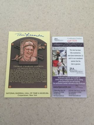 Tom Lasorda Signed Hof Plaque Postcard Jsa