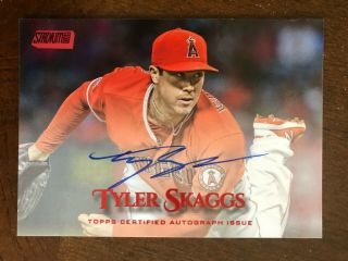 2019 Topps Stadium Club Tyler Skaggs Red /50 Auto Los Angeles Angels Autograph