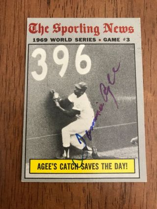 1970 Topps 307 World Series Game 3 Signed By Tommie Agee