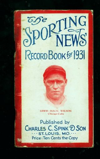 1931 The Sporting News Record Book (hack Wilson,  Chicago Cubs Cover)