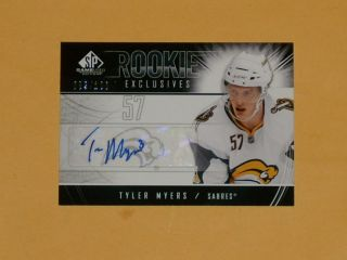 2009 - 10 Sp Game Rookie Exclusive Auto Hockey Card Re - Tm Tyler Myers /100