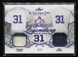 2019 Leaf Itg Game Ferguson Jenkins Greg Maddux Game Worn Jersey 4/9