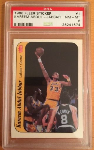 1986 Fleer Sticker Kareem Abdul - Jabbar 1 Psa 8 Nm - Mt Hof Lakers