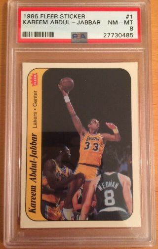 1986 Fleer Sticker Kareem Abdul - Jabbar 1 Psa 8 Nm - Mt Label Hof Lakers