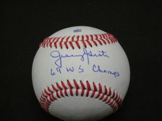 Ny Mets Legend 1969 W.  S.  C.  Catcher Jerry Grote Signed Baseball Inscribed W/coa