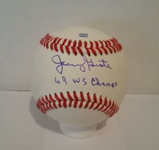Jerry Grote Autographed Signed Baseball - 1969 Ny Mets World Series Champs Mlb