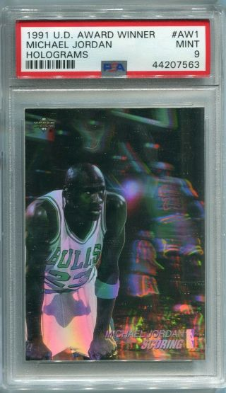 1991 - 92 Ud Upper Deck Michael Jordan Award Winner Hologram Aw1 Psa 9