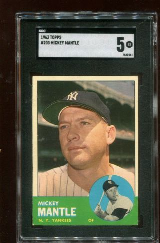 1963 Topps Mickey Mantle 200 Sgc 5 Ex