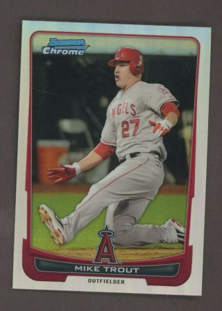 2012 Bowman Chrome Refractor Mike Trout Angels Rc Rookie
