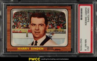 1966 Topps Hockey Setbreak Harry Sinden Rookie Rc 31 Psa 8 Nm - Mt (pwcc)