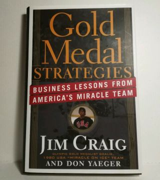 "Signed Gold Medal Strategies By Jim Craig "" 1980 Gold "" Hockey Miracle On Ice Hc"
