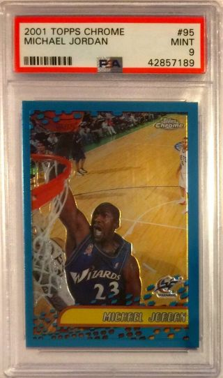 Michael Jordan Chicago Bulls 2001 Topps Chrome 95 Psa 9 Basketball Card