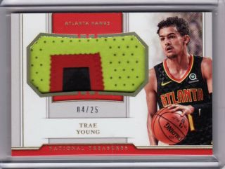 2018 - 19 National Treasures Trae Young Patch Rookie Holo 4/25 Jersey Hawks