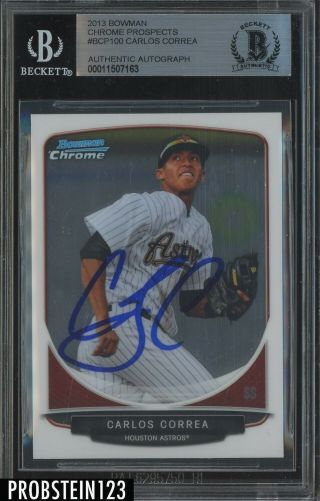 2013 Bowman Chrome Carlos Correa Rc Rookie Auto Houston Astros Bgs Bas