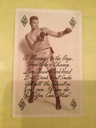 Vintage Jack Dempsey Signed Post Card With A Message To The Boys To Work Hard