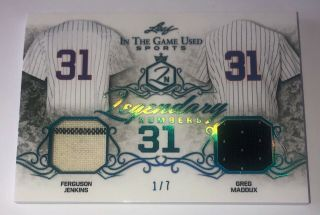 2019 Leaf Itg Game Fergie Jenkins Greg Maddux Game Worn Jersey D 1/7