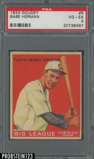 1933 Goudey 5 Babe Herman Chicago Cubs Psa 4 Vg - Ex