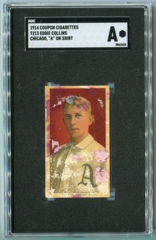"1914 T213 Coupon Type 2 Eddie Collins - Chicago,  "" A "" On Shirt - Sgc A"