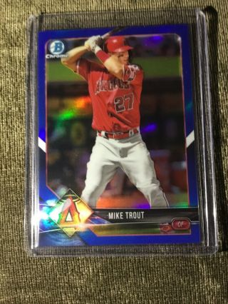 2018 Bowman Chrome Blue Refractor Mike Trout 81/150 37 Angels