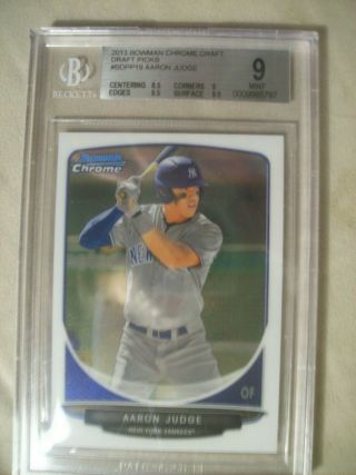 2013 Aaron Judge Bowman Chrome Draft Picks Rc Bgs 9 Superstar Yankees