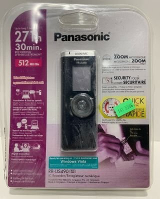 Panasonic Rr - Us490 Ic Voice Recorder Built In Zoom Microphone Rare