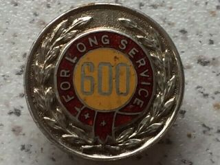 Rare Vintage And Unique Sterling Silver 25 Years Long Service Badge From 1959