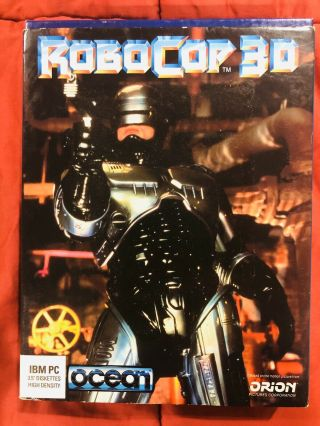 "Robocop 3d (pc Dos) By Ocean 3.  5 "" Disks Ibm & Compatibles With Poster Rare"