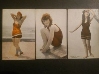 "Mack Sennett Girls "" Bathing Beautys "" Colorized1920s Exhibit Rare 3card Lot5"
