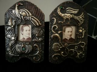 Exquisite Very Rare Arts And Crafts,  Nouveau,  Brass On Wood Photoframes