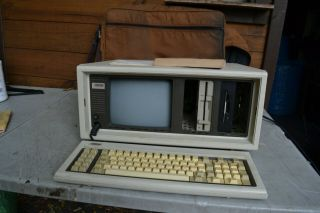Vintage Compaq Portable Computer W/ Originlal Carrying Bag Rare Ware