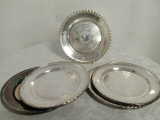 5 Vintage Silver Plated Serving Trays From Sweden With Very Elegant Patterns.