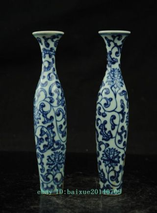 A Pair Fine Chinese Blue And White Porcelain Vase Painting Flowers B02