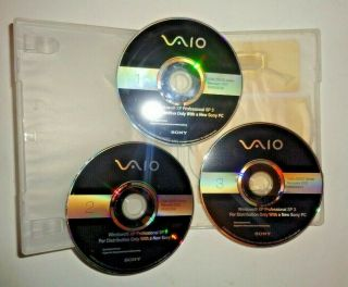2009 Rare 3 Dvd Disk Set Sony Pc Vaio Factory System Recovery Windows Xp Pro Sp3