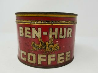 Vintage Antique Coffee Tin Can Ben - Hur Coffee 1lb Advertising Canister W/ Lid