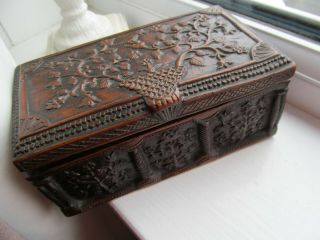 Old Carved Box Bird Flowers Ornate As Found