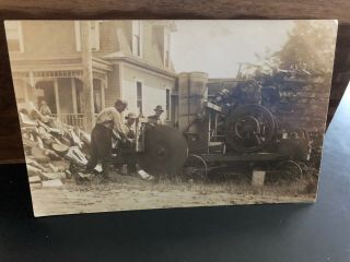 Postcard Unknown Vertical Hit Miss Gas Engine Old Antique Farm Oil Wood Sawing
