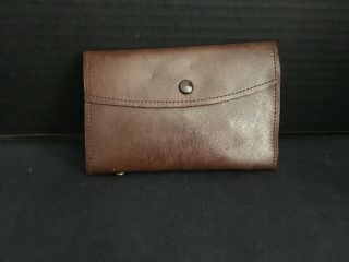 Vintage English Leather Fly Wallet With Flies