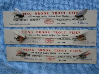 Antique 6 Shakespeare Spring Brook Trout Flies On Cards & 7 Uncarded