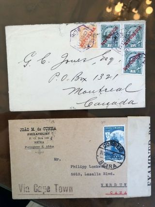 7 2 Rare Portugal Portuguese Colonial Mozambique Postal Covers To Canada