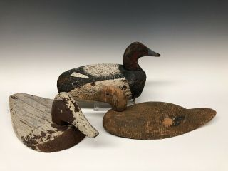 Three Duck Hunting Decoy Wood Decoys Vintage Antique Old