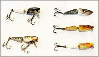5 Tough Jenson Zipper Minnow Lures Made In Tx 1950s