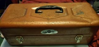 Vintage Metal Tackle Box Full Of Old Fishing Lures & Other Items