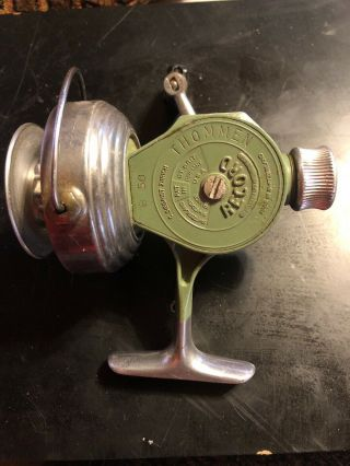 Antique Thommen Record Model 50b Swiss Made Spinning Reel With Bail