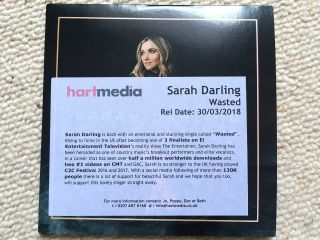 Sarah Darling - Wasted (cd Single,  2018) Rare Dj Promo With Exclusive B - Side