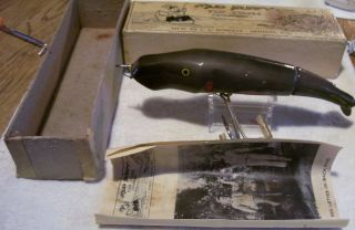 Vintage Mud Puppy Wood Lure 7/11/19pot Box Paper 6 - 1/2 ""
