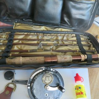 Fishing Rod Vintage 60s Bretton - Martin 1 - 666 Pack Rod & Reel & Leather Case