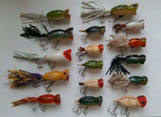 16 Assorted Hula Popper Fishing Lures,  Topwater Crankbaits